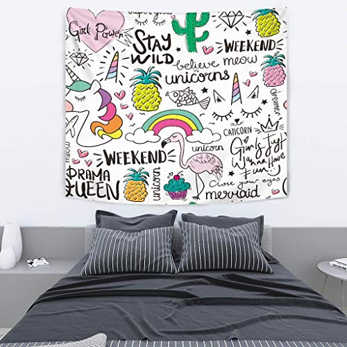 SHINICHISTAR Unicorn Tapestry for Kids Teens Girls Cartoon Drawing for Home Decorations Art Wall Hanging