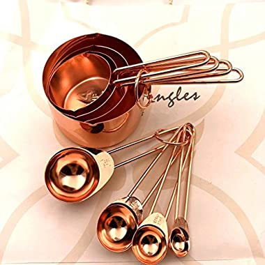 KAISHAN Copper Stainless Steel Measuring Cups and Spoons set of 8 Engraved Measurements, Pouring Spouts & Mirror Polished for Baking and Cooking - 60ml 80ml 125ml 250 ml