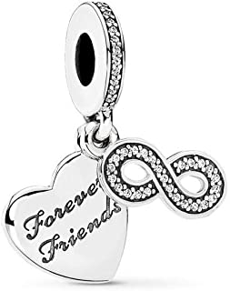 Forever Friends Dangle Charm, Sterling Silver, Clear Cubic Zirconia, One Size