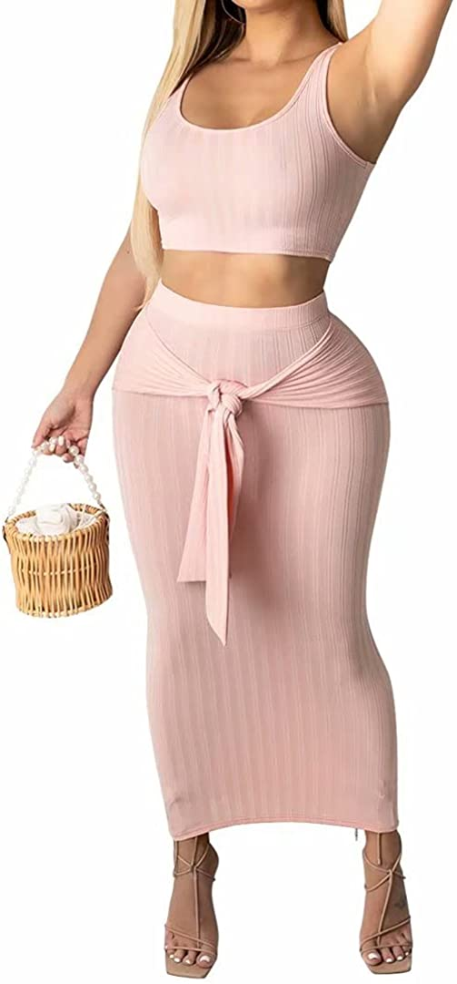 Womens Sexy 2 Piece Midi Dress Outfits - Sleeveless Tie Dye Print Tank Crop Top Bodycon Skirts Set