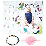 Citihomy Baby Monthly Milestone Blanket Girls Colorful Mermaid Newborn Photo Props Shoots Backdrop Blowing Bubbles Photography Growing Infants Toddlers Soft Fleece Swaddle Blanket