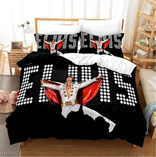 Nat999Lily Duvet Cover 3D Elvis Presley Bedding Set Soft Duvet Cover King Queen Twin Full Comforter Bed Set Pillowcases Bedclothes Home Textile 140x200cm