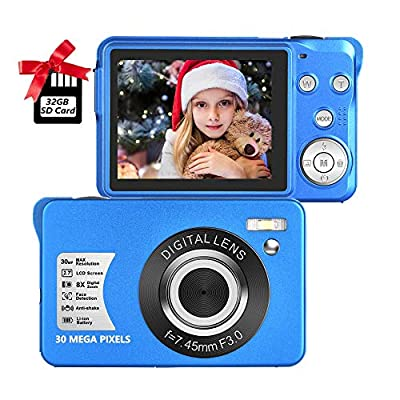 Digital Camera,30MP Compact Camera,2.7 inch Pocket Camera,Rechargeable Small Digital Camera for Kids,Students,School,Children,Photography with 8X Zoom (32GB SD Card Included) by SEREER