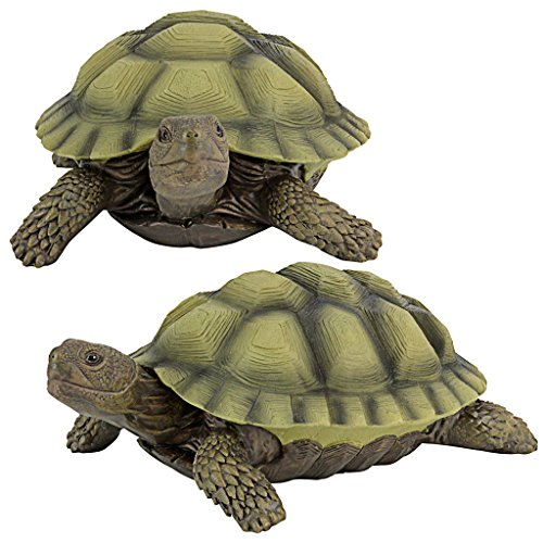 Design Toscano Gilbert the Box Turtle Garden Decor Animal Statue, 9 Inch, Set of Two, Polyresin, Full Color