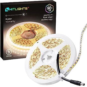 HitLights Neutral White LED Strip Lights UL-Listed Premium High Density 2835-16.4 Feet 600 LEDs 4000K 44W CRI 90+ 900Lumen/m 12V DC LED Tape Lights for Under Cabinet Kitchen Lighting Project