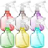 Youngever 6 Pack Empty Plastic Spray Bottles, Spray Bottles for Hair and Cleaning Solutions, 16 Ounce Bottles in 6 Colors (Round Shape)