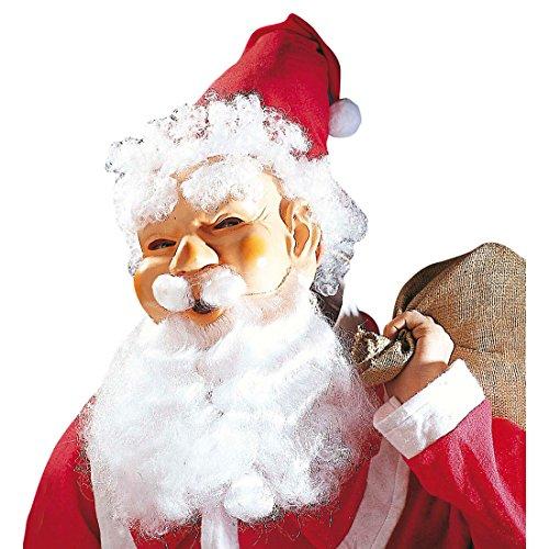 Amakando Masque Père Noël avec Bonnet Cheveux Barbe Moustache Santa Claus fêtes Accessoires Saint-Nicolas déguisement Christmas