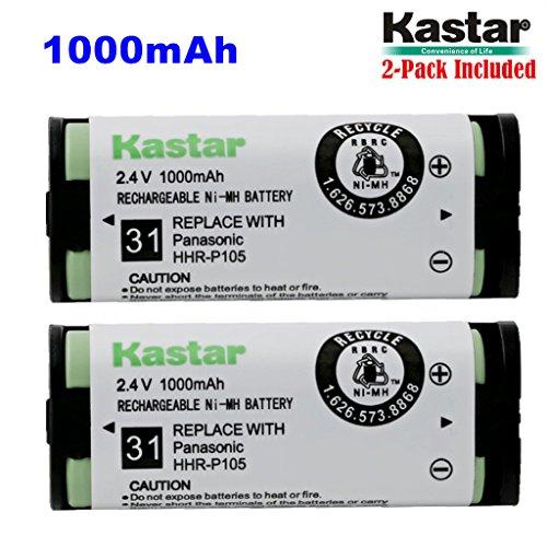 Kastar HHR-P105 Battery (2-Pack), Type 31, NI-MH Rechargeable Cordless Telephone Battery 2.4V 1000mAh, Replacement for Panasonic HHRP105 HHR-P105 HHRP105A HHR-P105A KX242 KX-242 KX2420 KX-2420 KX2421 KX-2421 KX2422 KX-2422 KXTG5779 KX-TG5779 Dantona BATT105 BATT-105 Empire CPH508 CPH-508 GE 86420 Lenmar CB0105 CB-0105 Avaya 3920 Interstate ATEL0014, TEL0014, TEL-0014