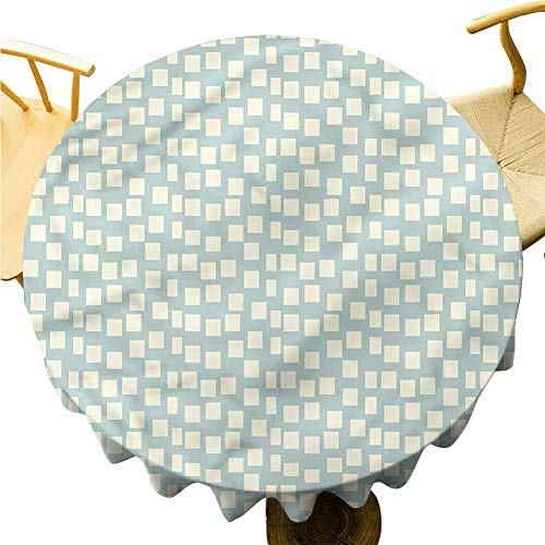 Pattern Tablecloth Big Small Squares Tile. Outdoor Picnic Table Diameter 43'