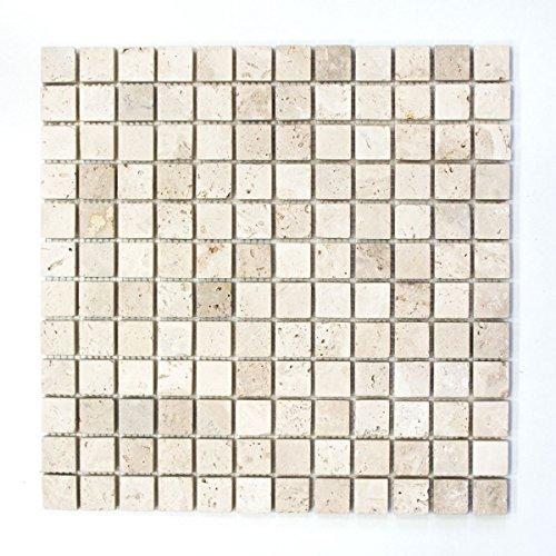 Mosaik Fliese Travertin Naturstein beige Chiaro Antique Travertin für BODEN WAND BAD WC DUSCHE KÜCHE FLIESENSPIEGEL THEKENVERKLEIDUNG BADEWANNENVERKLEIDUNG Mosaikmatte Mosaikplatte