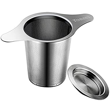 Yoassi Extra Fine FDA Approved 8/18 Stainless Steel Tea Infuser Mesh Strainer with Large Capacity & Perfect Size Double Handles for Hanging on Teapots,Mugs, Cups to steep Loose Leaf Tea and Coffee