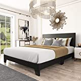 Amolife Queen Size Platform Bed Frame with Adjustable Headboard and Wood Slat Support, Faux Leather Upholstered Mattress Foundation, Black