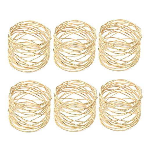 Alloy Napkin Rings Wedding Napkin Rings Decoration Ring Table Decoration Accessories for Dinner Table Napkin Party Gold 6pcs Houseware