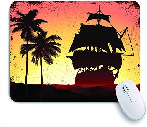 SUHOM Gaming Mouse Pad Rutschfeste Gummibasis,Navy Adventure Grunge Mist Piratenschiff in Ocean Beach Sail Sea Tall Fog Brig,für Computer Laptop Office Desk,240 x 200mm