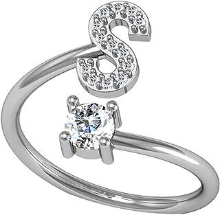 1 anello regolabile argento 925 zirconi lettera iniziale alta 22 mm Letter ring