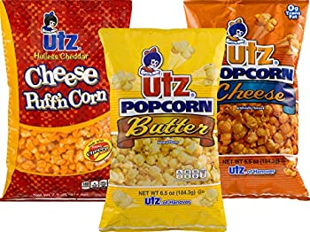 Utz Butter Cheese & Hulless Puffin  Cheddar Popcorn Variety 3-Pack