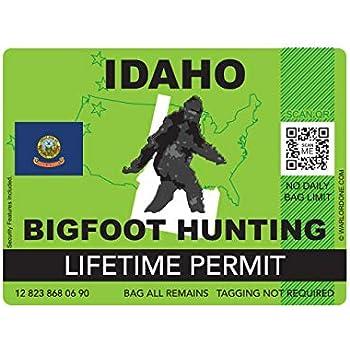 fagraphix Idaho Bigfoot Hunting Permit Sticker Die Cut Decal Sasquatch Lifetime FA Vinyl - 4.00 Wide