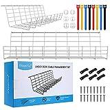 Magicfly - Bandeja organizadora de cables para debajo del escritorio, 2 unidades, 43 cm, con 3 soportes para cables y 4 bridas, organizador de cables de metal para oficina y hogar, color blanco