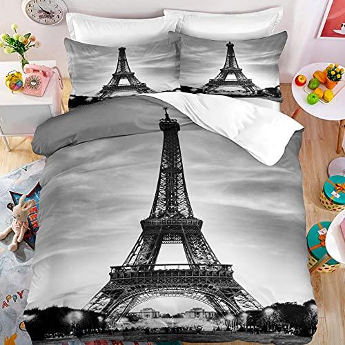 Funda Nordica Cama 90 Torre Eiffel, Juego de Funda Edredon 135x200 cm con 1 Funda de Almohada 50x75 cm Fundas Nordicas de Microfibra con Cremallera