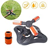 Urbling Lawn Sprinkler with Quick Connect Adapter and 3 Adjustable Rotating Arms, Grass Sprinkler for Hose 360 Degree
