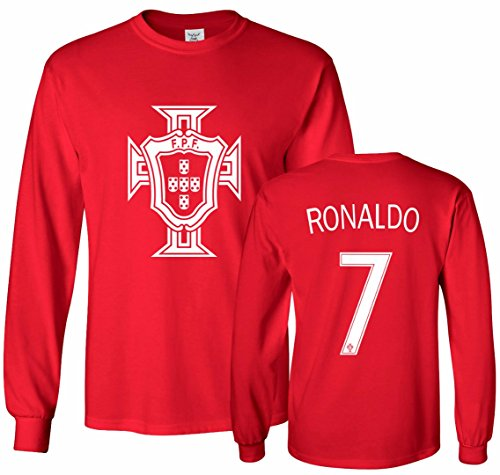 Tcamp Portugal Soccer Shirt Cristiano Ronaldo #7 Jersey Men's Long Sleeve T-Shirt Red