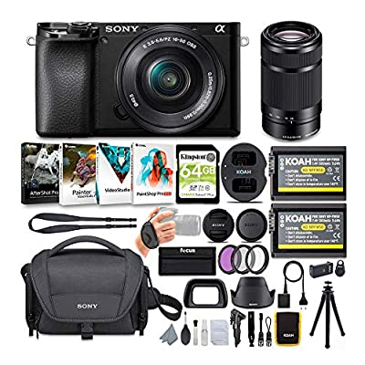 Sony Alpha a6100 APS-C Mirrorless ILC with 16-50mm and 55-210mm Lenses Bundle (8 Items) from Sony