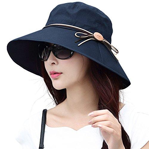 Summer Cotton Wide Brim Bucket Sun Hat for Women Face Shield Protection UPF Travel Beach Chin Strap Medium Navy Blue