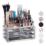 Relaxdays Organizer Make-up, Contenitore 2 Pezzi con Porta-Rossetti e 4 Cassetti, Acrilico, Oro a Righe