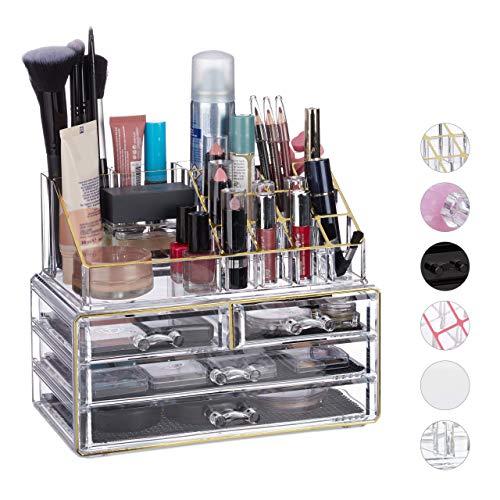 Relaxdays Make Up Organizer Acryl, 2-teilige Schminkaufbewahrung mit Lippenstifthalter & 4 Schubladen, transparent/gold