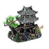 Tubayia Minifigura de arquitectura china para acuario, decoración de peces, escondite, cueva ornamental (tipo A)