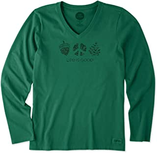Life is Good. Womens Long Sleeve Crusher Vee: Peaceful Acorn, Forest Green