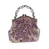 ZLACA Bolso de Mano Bolsa de arpillera de algodón, Vintage Lujo de Las Mujeres con Cuentas de impresión Mujeres Bolso de Tarde del Bolso (Color : A)