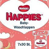 Huggies Happies Baby-Waschlappen, sanft und reißfest, 7er Pack (7 x 30 Stücke), Großpackung