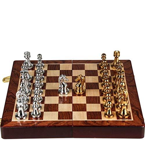 Juegos de Mesa Ajedrez Plegable Caja de Regalo de Alta Gama Piezas de ajedrez de Bronce metálico para niños Adultos Juego de ajedrez Ajedrez Adornos de ajedrez Regalos Juego de ajedrez (Co
