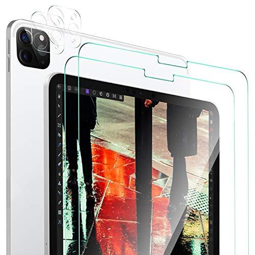 ELTD Displayschutz und Kamera Schutzfolie für iPad Pro 11 2020, Glas Panzerglas Displayschutzfolie (2 Stück) + Kamera Panzerglas Schutzfolie (2 Stück) für iPad Pro 11 Zoll 2020