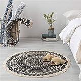Sofa Teppich Marokko Runde Teppichboden Schlafzimmer Boho Art-Troddel-Baumwolle Teppich Hand...