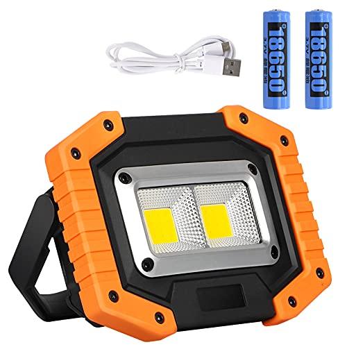 Lyneun Foco LED de 30 W, foco de trabajo, batería recargable por USB, IP65, resistente al agua, lámpara de trabajo, luz de trabajo para camping, pesca, taller, obras, color amarillo