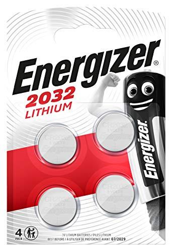 Energizer CR2032 Batterien, Lithium Knopfzelle, 4 Stück, Metallisch, Packung mit 4 Stück