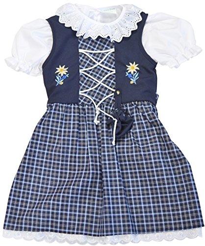 Schrammel Kinder Dirndl mit Beutelchen 3 Teilig // 127-130 Classic auch für Mollige Kinder in Gr 146-152 (110-116, Blau)