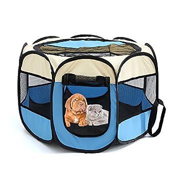 Tineer Portable Pet Cat Cage pour Chien Niche Chenil Tente Lit Parc d'enfant Camping de Plein air Pliable Maison de Caisse de Chien de Voyage Playpen (S:72×72×45cm, Bleu Ciel)