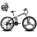 KuaiKeSport Bicicleta Montaña Plegable,Bikes Bici Plegable 24 Pulgadas,24 Velocidades Bicicleta De Trekking Todoterreno para Hombre Mujer Estudiantes Adultos Bicicletas de Doble Disco de Freno,Blanco
