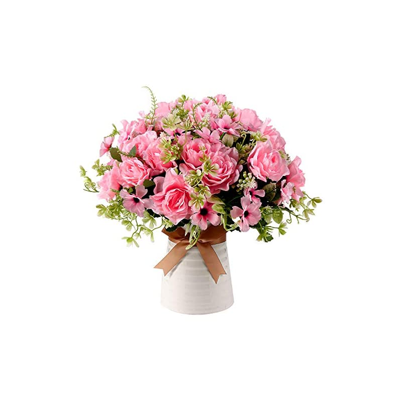 silk flower arrangements homsunny fake gardenia flowers with ceramics vase, silk flower arrangements, artificial flowers in vase for homes officesdinning roon table kitchen desktop decorate (pink)