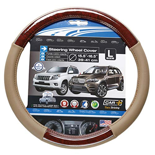 Chrome LINE Steering Wheel Cover, Two Tone Tan and Wood Grain...