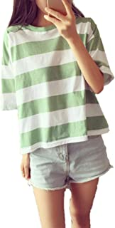 KKRO Tシャツ レディース カットソー ストライプ 半袖Tシャツ 女性 トップス ファッション ゆったり 韓流 夏服