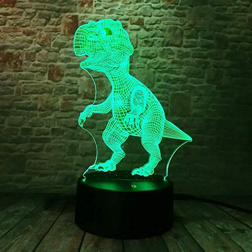 3D Illusion Night Light bluetooth smart Control 7&16M Color Mobile App Led Vision Source Unique Dinosaur Boy Child Man Sleeping Vacation Friend Table Acrylic Button 3-in-1 Mode