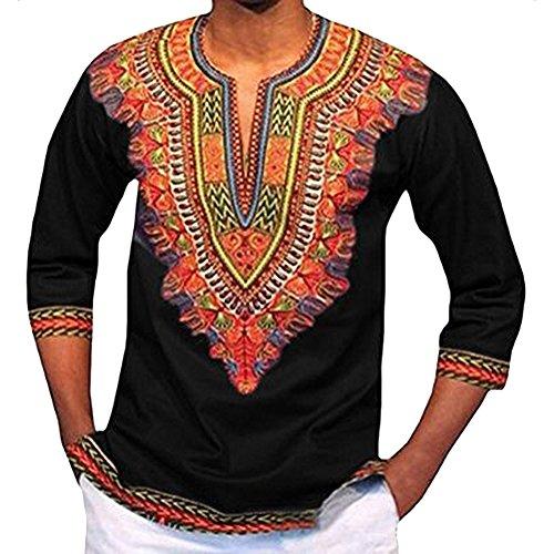 Tradition Beiläufiger Dashiki Hemden Traditionelle Afrikanische Herren T-Shirt Mittlerer Ärmel Slim Fit Schwarz L