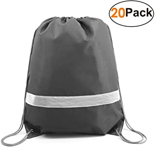 c82abaa727 Grey-Drawstring-Backpacks-Bag Reflective Sports Gym Sack Pack String Bags  20 Pack