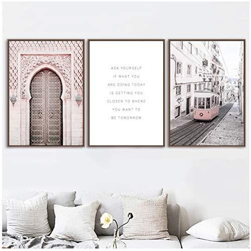Roze Veer Pioen Marokko Deur Parijs Bus Muur Canvas Schilderij Nordic Posters En Prints Muur Foto 'S Voor Woonkamer Decor-50x70x3Pcscm Geen Frame