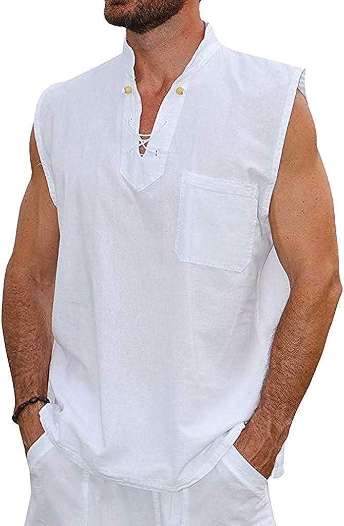 Men's Casual 2 Piece Outfits Summer Linen Cotton Short Sleeve V Neck Shirt& Shorts Beach Set