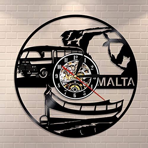 fdgdfgd Reloj de Pared de Reloj de CD Retro Negro Reloj de Pared de Disco de Vinilo Vintage Países Europeos Turismo Viajes República Clase   Regalo Hecho a Mano conmemorativo de cumpleaños